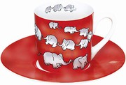 Chain of elephants/red - espresso - sloni